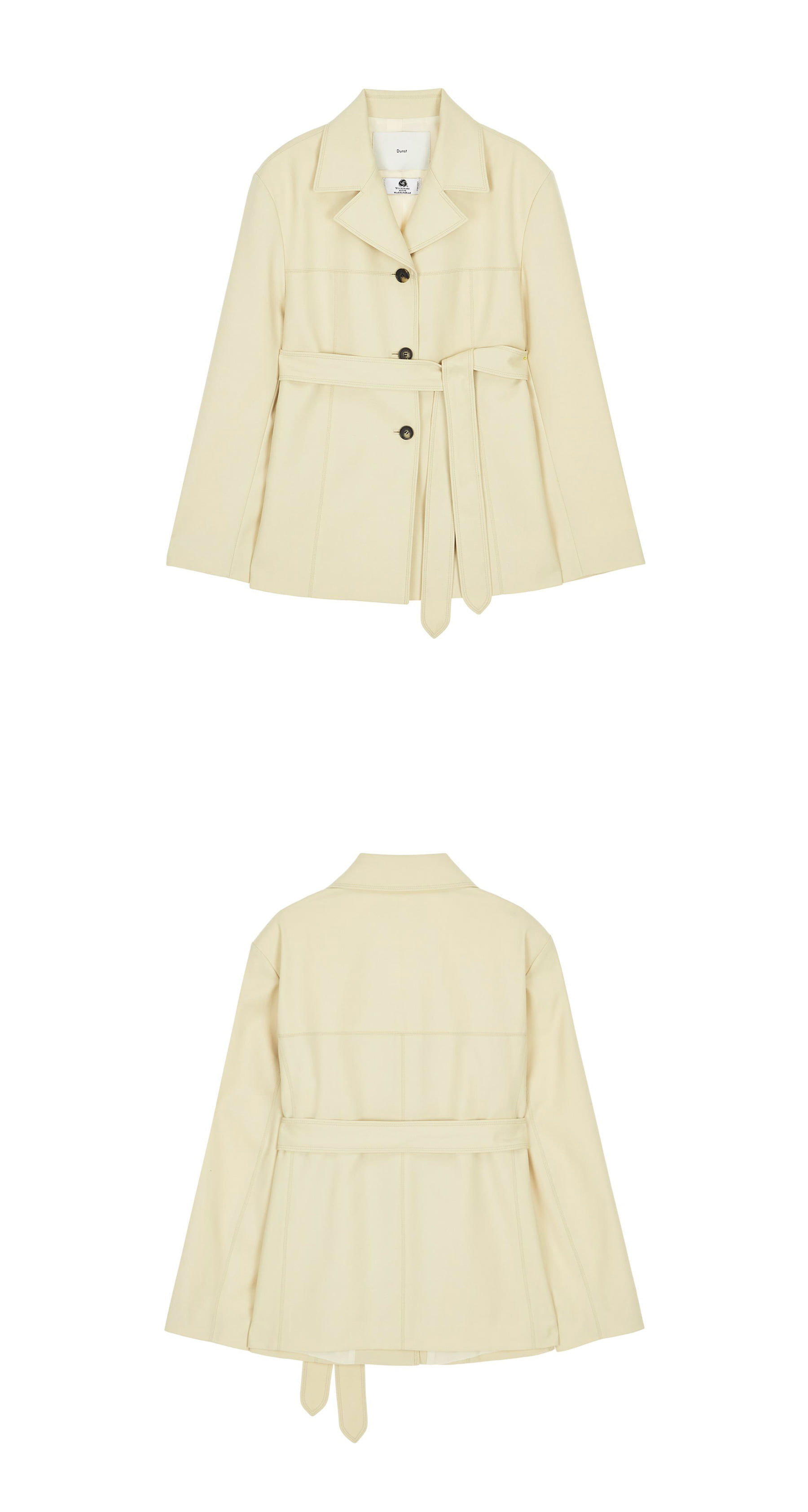 던스트(DUNST) WIDE COLLAR BELTED WOOL JACKET LIGHT BEIGE UDJA0E201I1