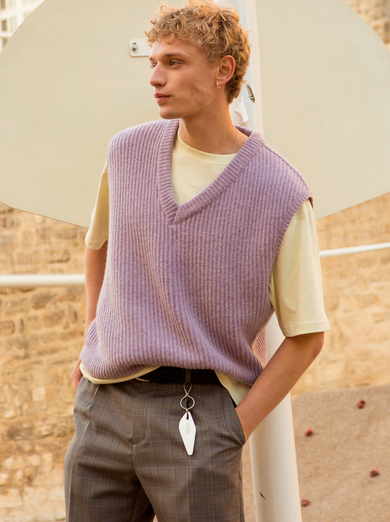UNISEX DUSTER VEST SWEATER (melange purple)