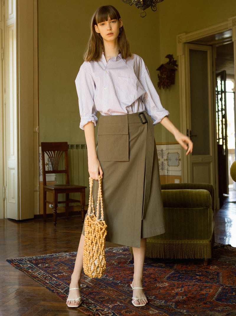 POCKET BELT WRAP SKIRT (KHAKI)