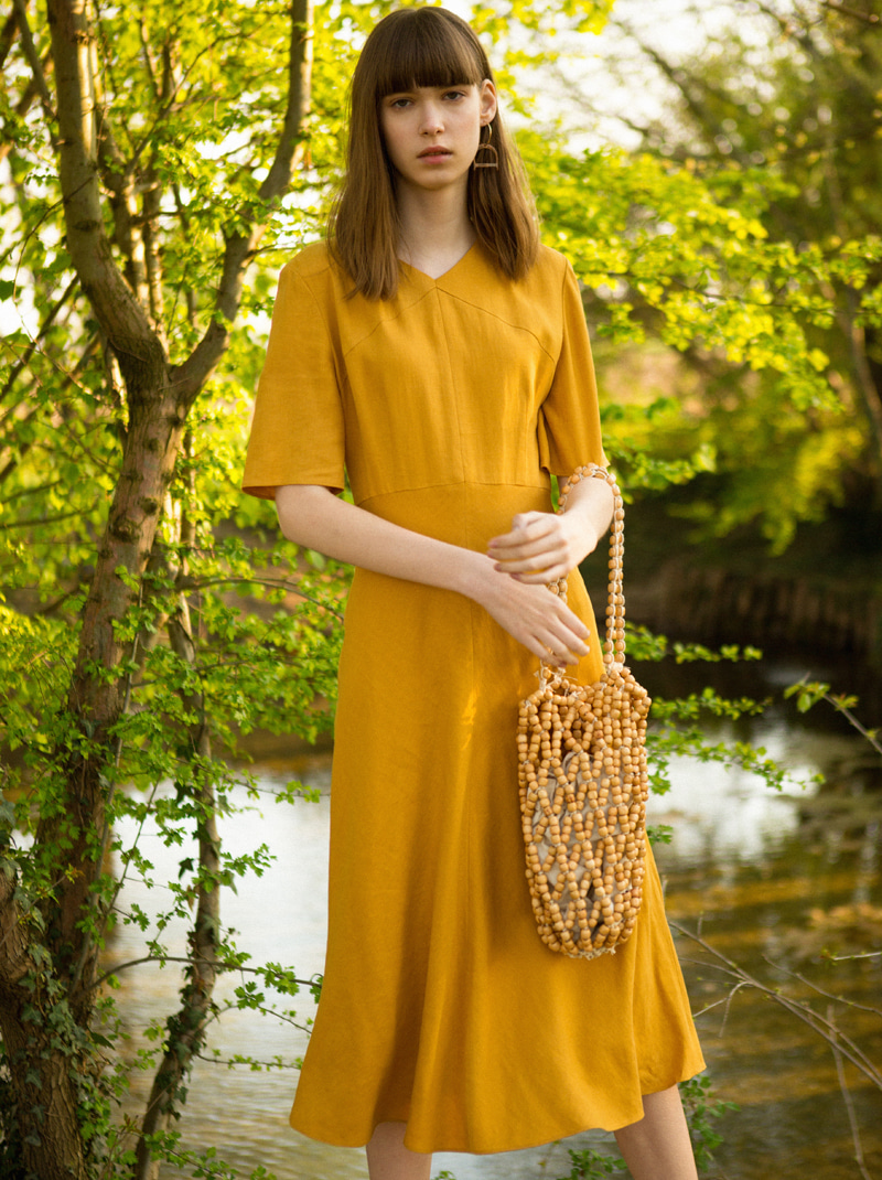 V-NECK FLARED DRESS (MUSTARD)