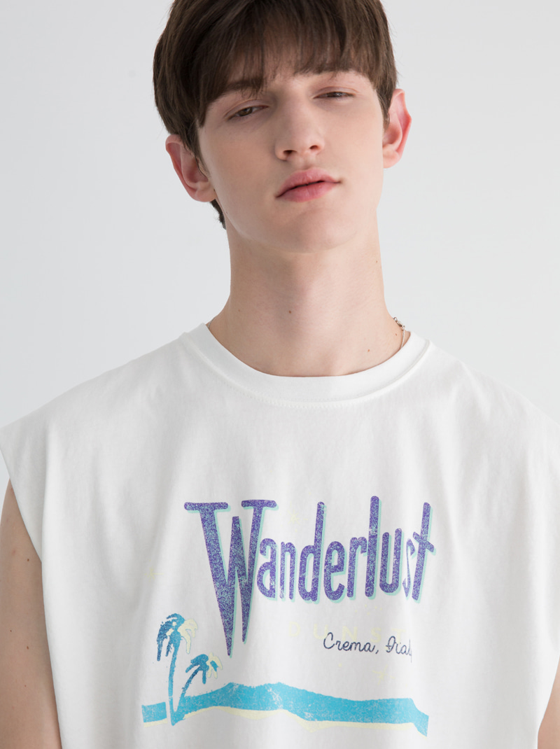 UNISEX WANDERLUST GRAPHIC SLEEVELESS (WHITE)