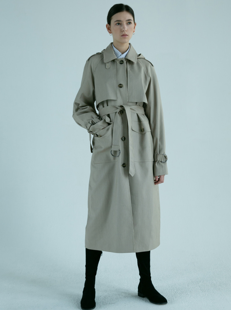 ALEX HOODED TRENCH COAT (check)