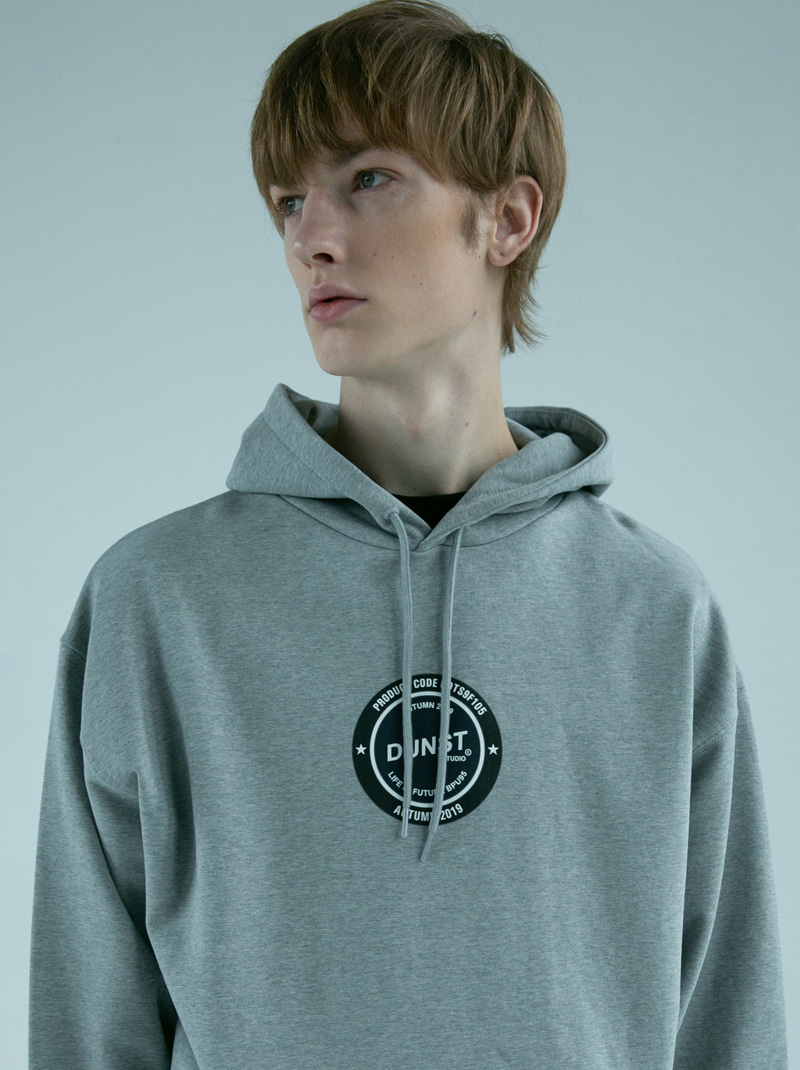 UNISEX NEWTRO CIRCLE GRAPHIC HOODIE MELANGE GREY