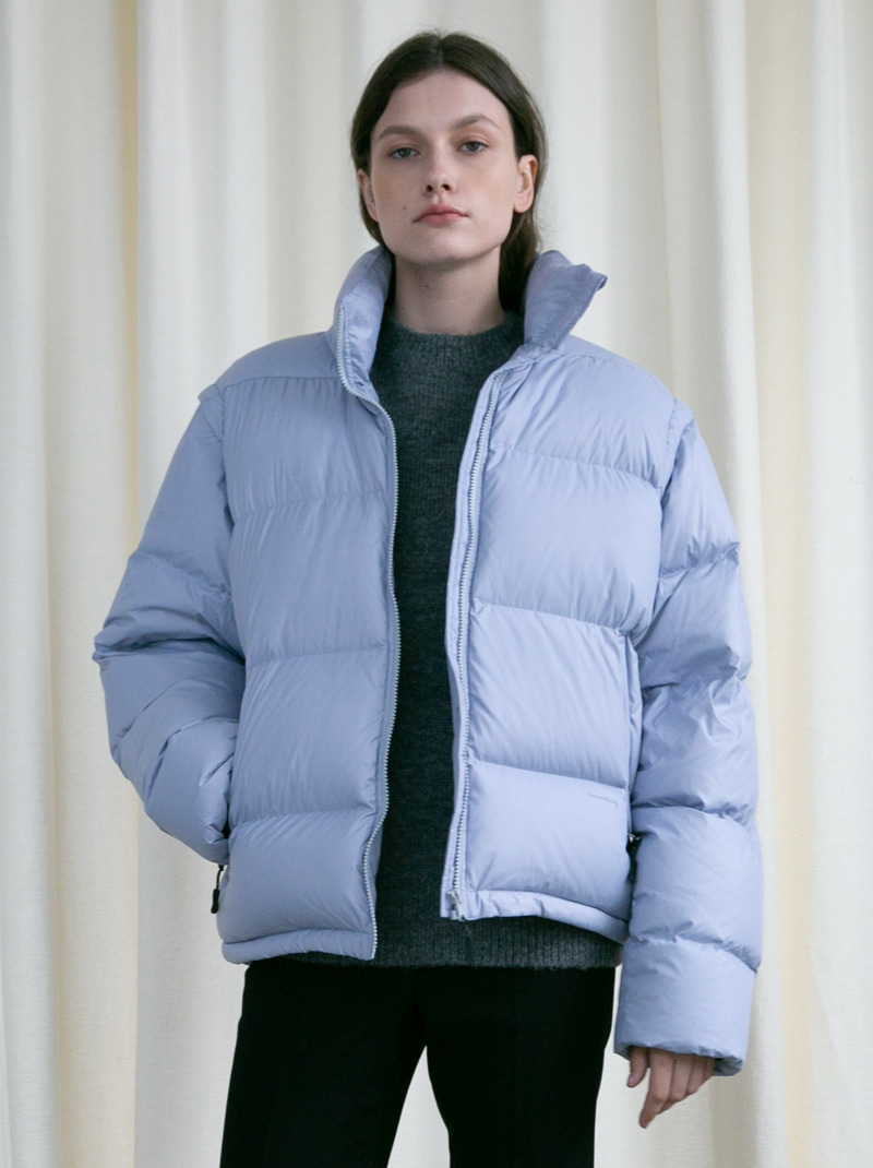 UNISEX 2-WAY DUCK DOWN PUFFER JACKET LIGHT BLUE