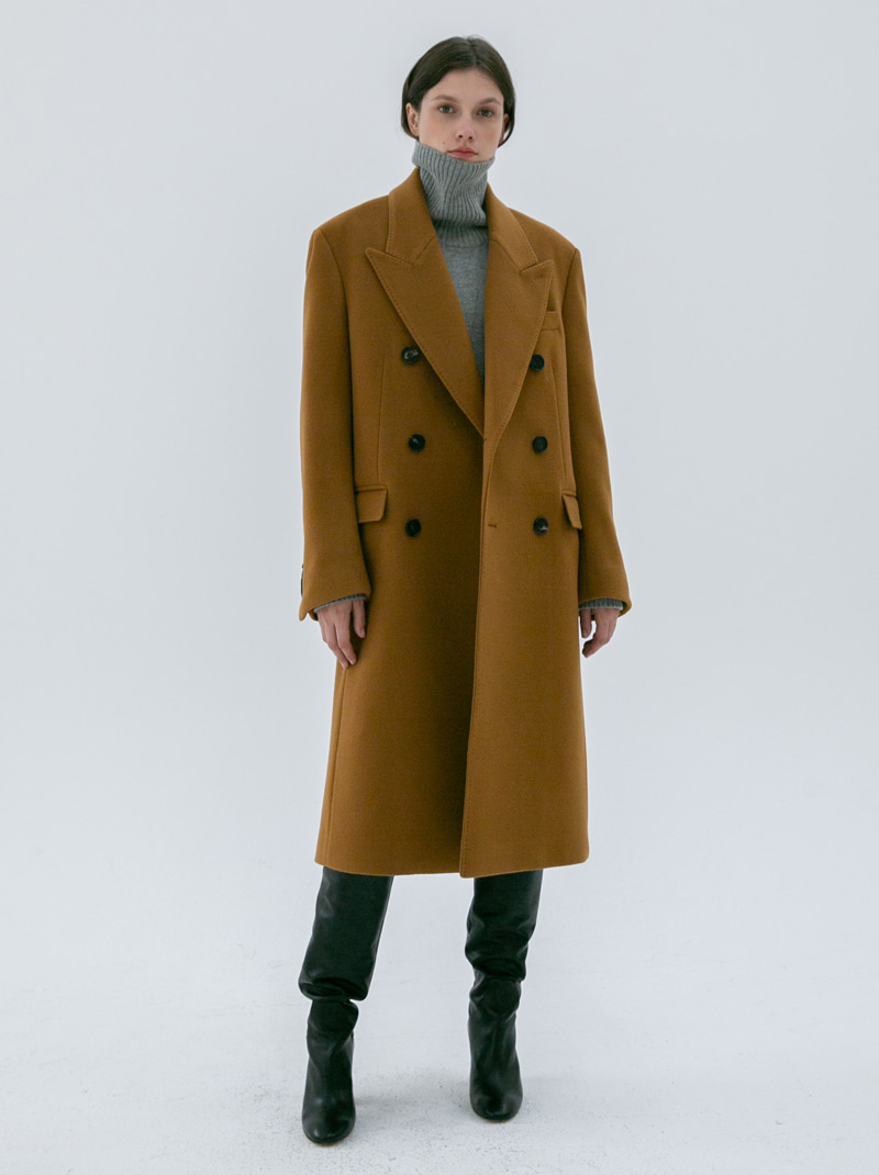 UNISEX TAILORED DOUBLE-BREASTED CASHMERE COAT CAMEL