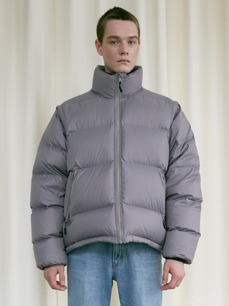 UNISEX 2-WAY DUCK DOWN PUFFER JACKET GREY