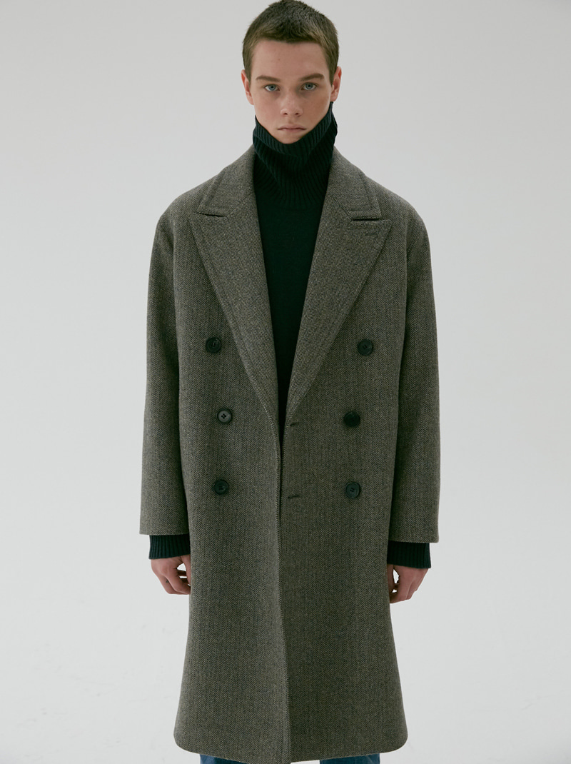 UNISEX OVERSIZED DOUBLE WOOL COAT HERRINGBONE