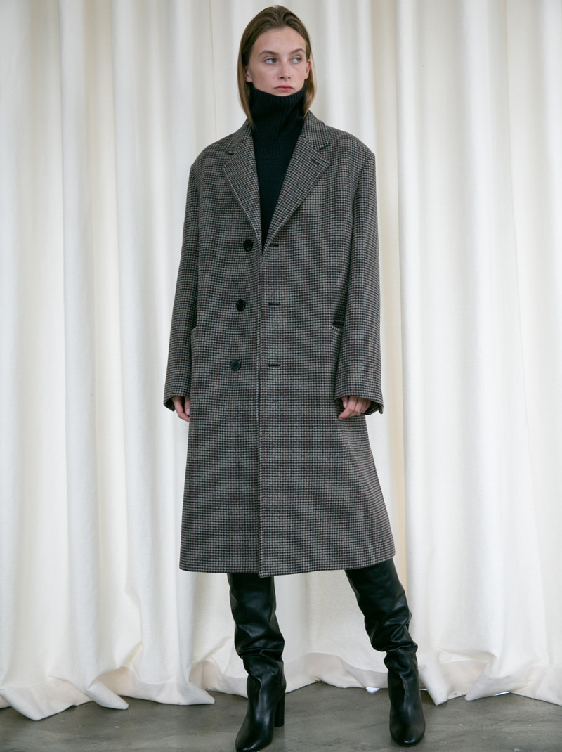 UNISEX SINGLE 3 BUTTON WOOL COAT CHECK