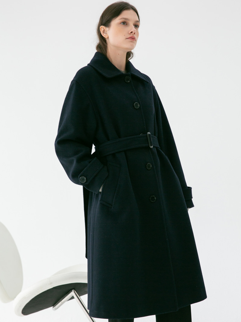 A-LINE BELTED SINGLE WOOL COAT NAVY