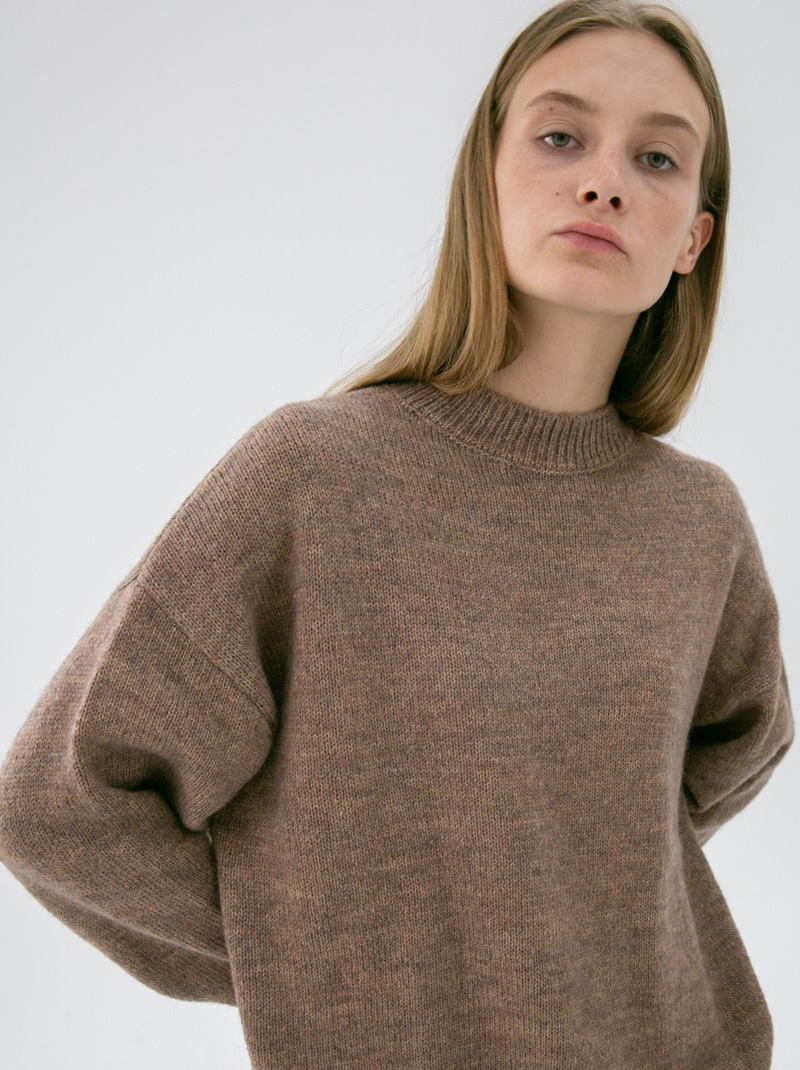 UNISEX HAIRY MOCK-NECK WOOL SWEATER MALANGE BEIGE