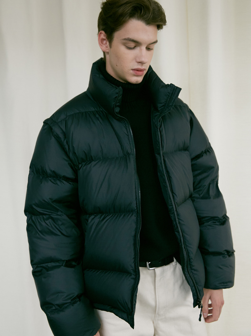 UNISEX 2-WAY DUCK DOWN PUFFER JACKET BLACK
