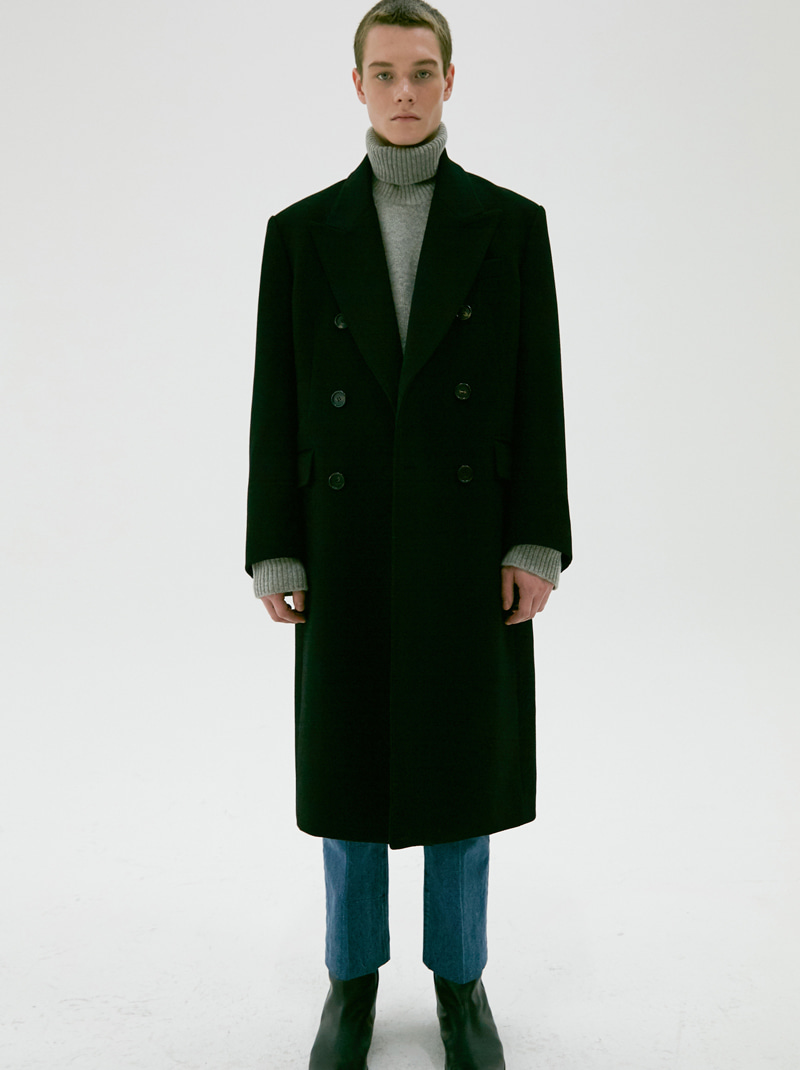 UNISEX TAILORED DOUBLE-BREASTED CASHMERE COAT BLACK