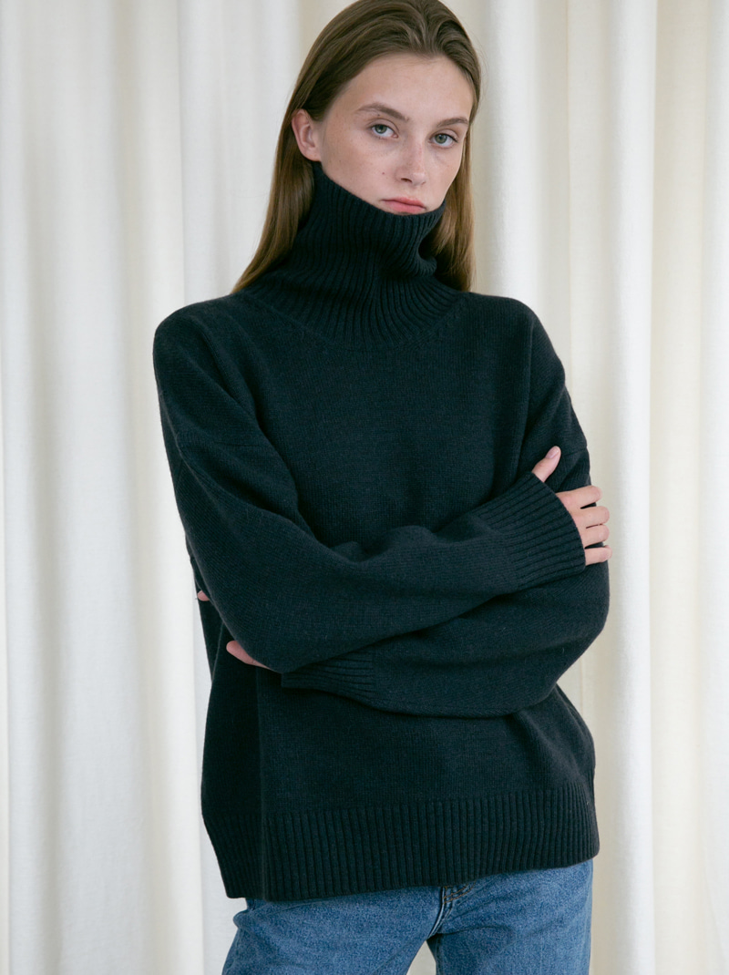 UNISEX OVERSIZED TURTLENECK WOOL SWEATER CHARCOAL NAVY