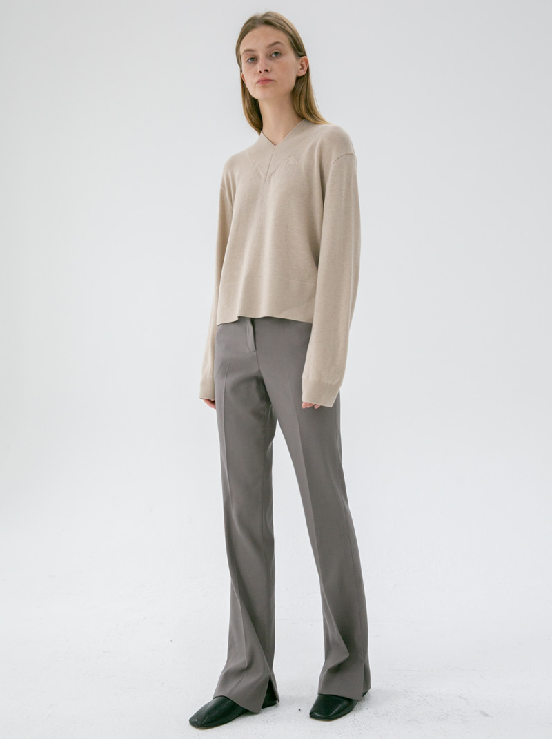 ASYMMETRY SLIM BOOT-CUT TROUSERS (COCOA)
