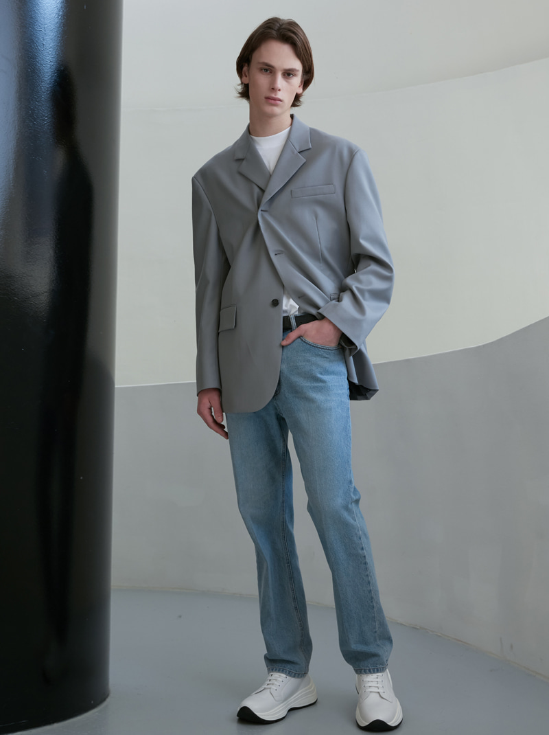 UNISEX 2-WAY 3 BUTTON WOOL BLAZER GREY