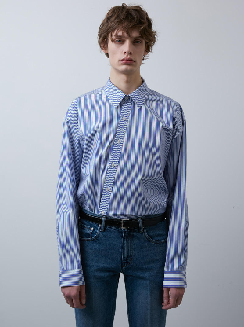 UNISEX TWIST LINE SHIRT BLUE STRIPE