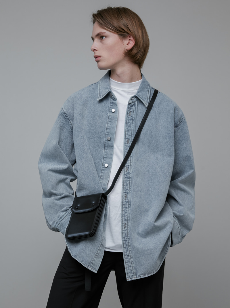OVER-FIT DENIM SHIRT JACKET GREYISH BLUE
