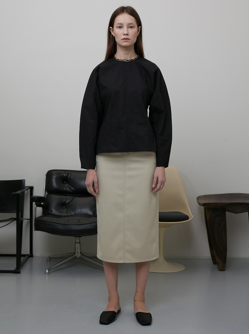 BACK SLIT WOOL PENCIL SKIRT LIGHT BEIGE