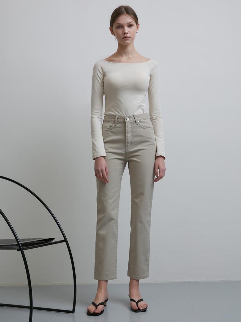 ESSENTIAL STRAIGHT JEANS GREYISH BEIGE