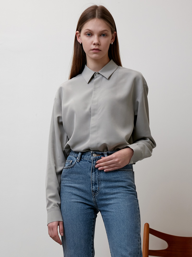 UNISEX HIDDEN-PLACKET SOFT SHIRT GREYISH OLIVE