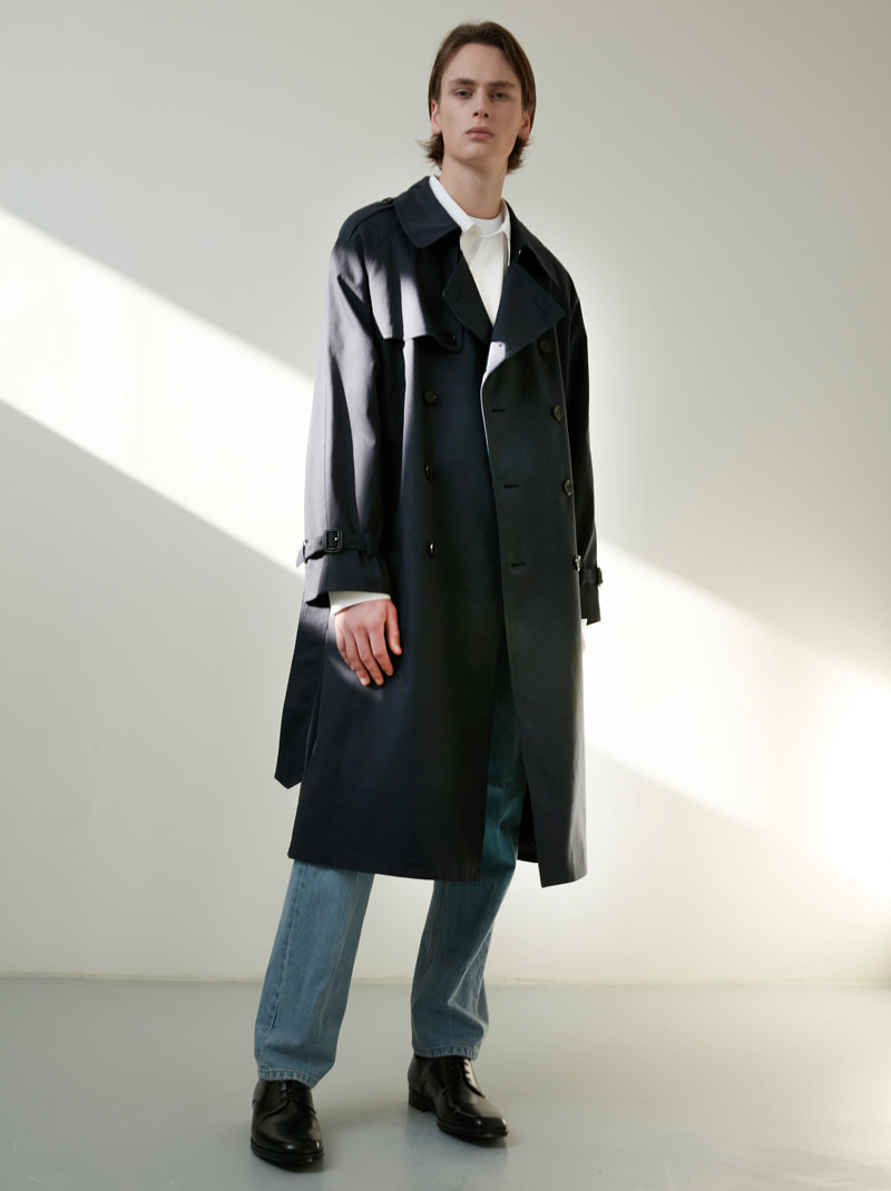 UNISEX CLASSIC OVERSIZED TRENCH COAT (NAVY)