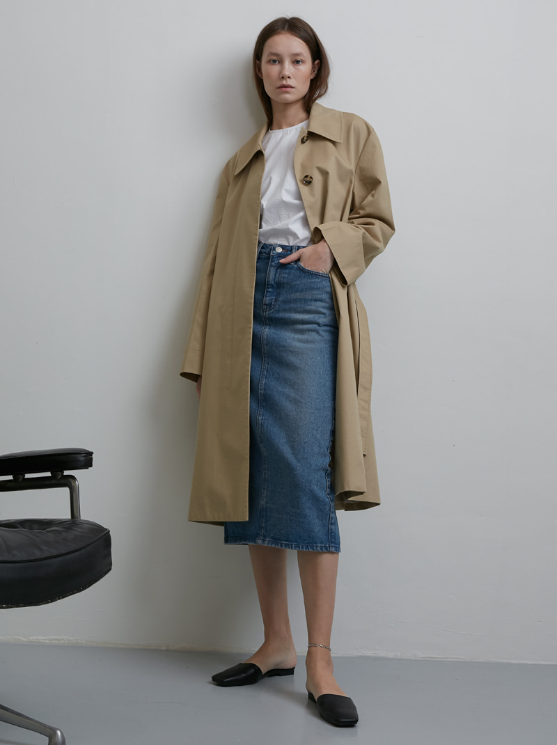 WIDE SLEEVE SINGLE TRENCH COAT (BEIGE)