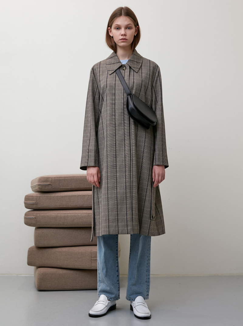 WIDE SLEEVE CHECK SINGLE TRENCH COAT (CHECK)