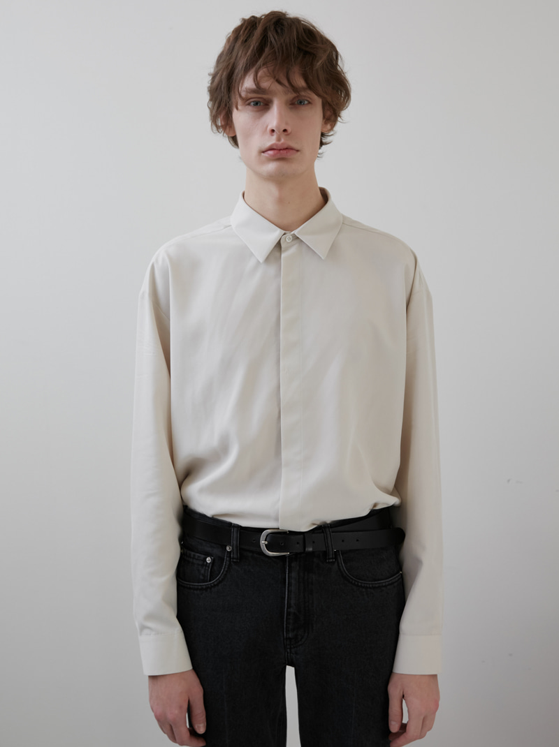 UNISEX HIDDEN-PLACKET SOFT SHIRT IVORY