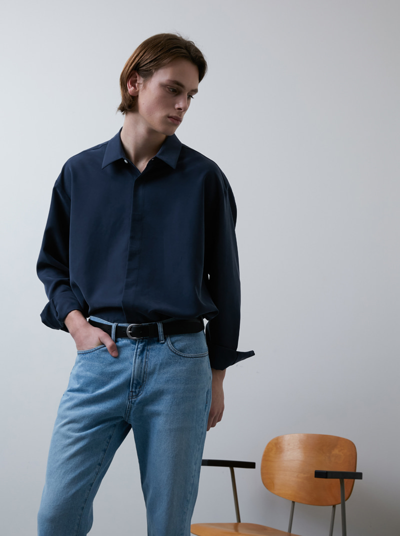 UNISEX HIDDEN-PLACKET SOFT SHIRT MIDNIGHT BLUE