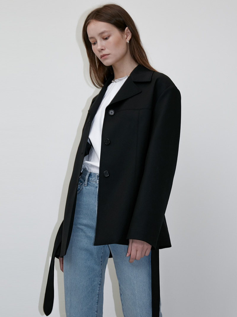 WIDE COLLAR BELTED WOOL JACKET BLACK