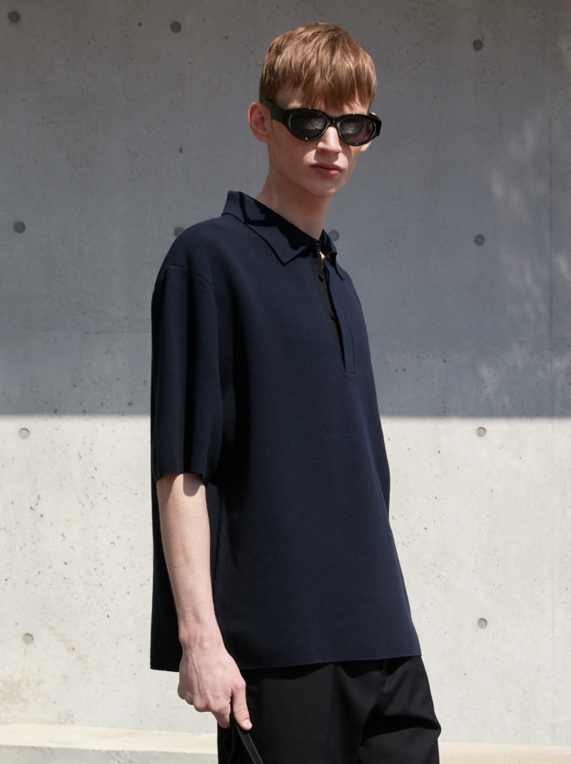 HIDDEN PLACKET COLLAR KNIT NAVY