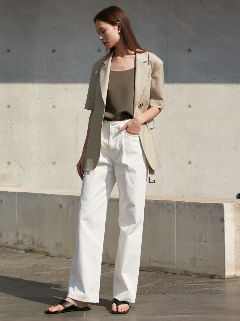 FOLD-FRONT WIDE-LEG JEANS WHITE