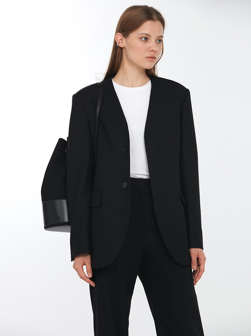 UNISEX COLLARLESS WOOL BLAZER BLACK