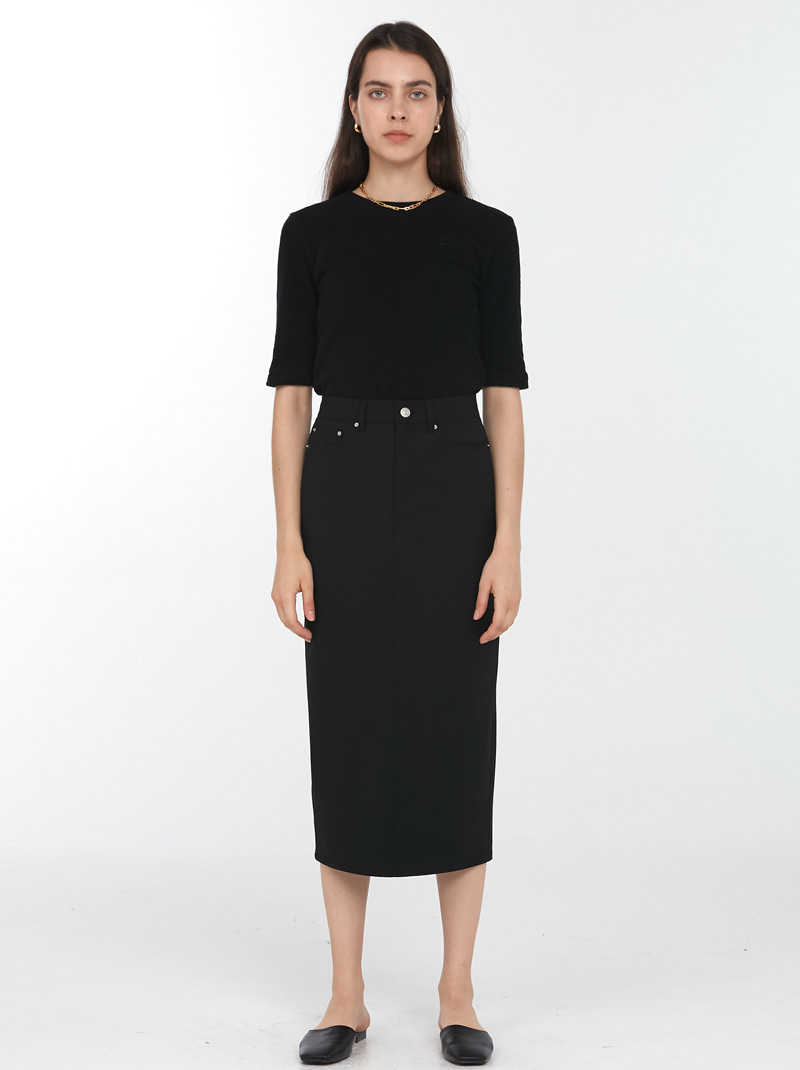 BACK SLIT WOOL PENCIL SKIRT BLACK