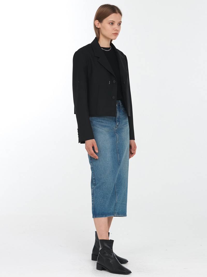 BACK SLIT DENIM PENCIL SKIRT MID BLUE
