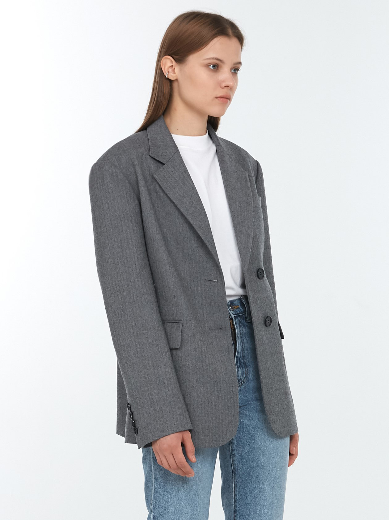 ESSENTIAL 2 BUTTON WOOL BLAZER GREY HERRINGBONE