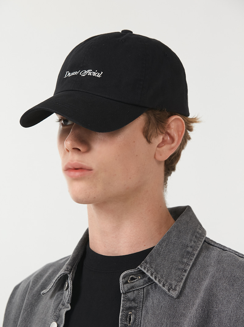 UNISEX SIMPLE LOGO BALL CAP BLACK