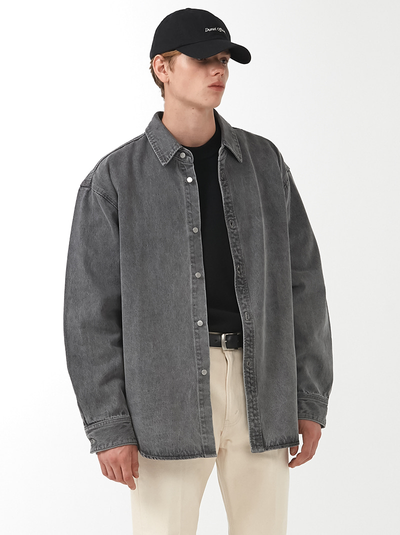 UNISEX OVER-FIT DENIM SHIRT JACKET DUST GREY