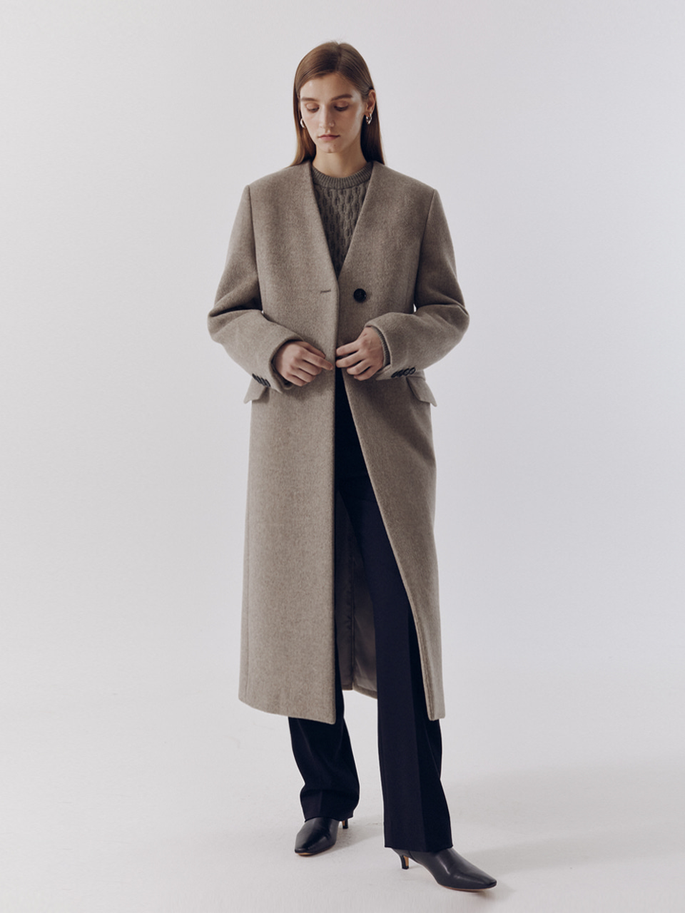 COLLARLESS WOOL LONG COAT OATMEAL