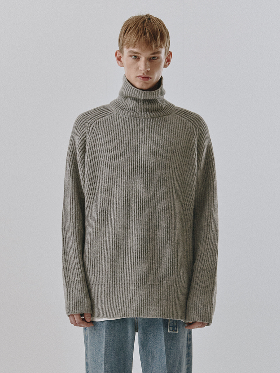 UNISEX RIBBED FUNNEL NECK WOOL SWEATER MELANGE GREY