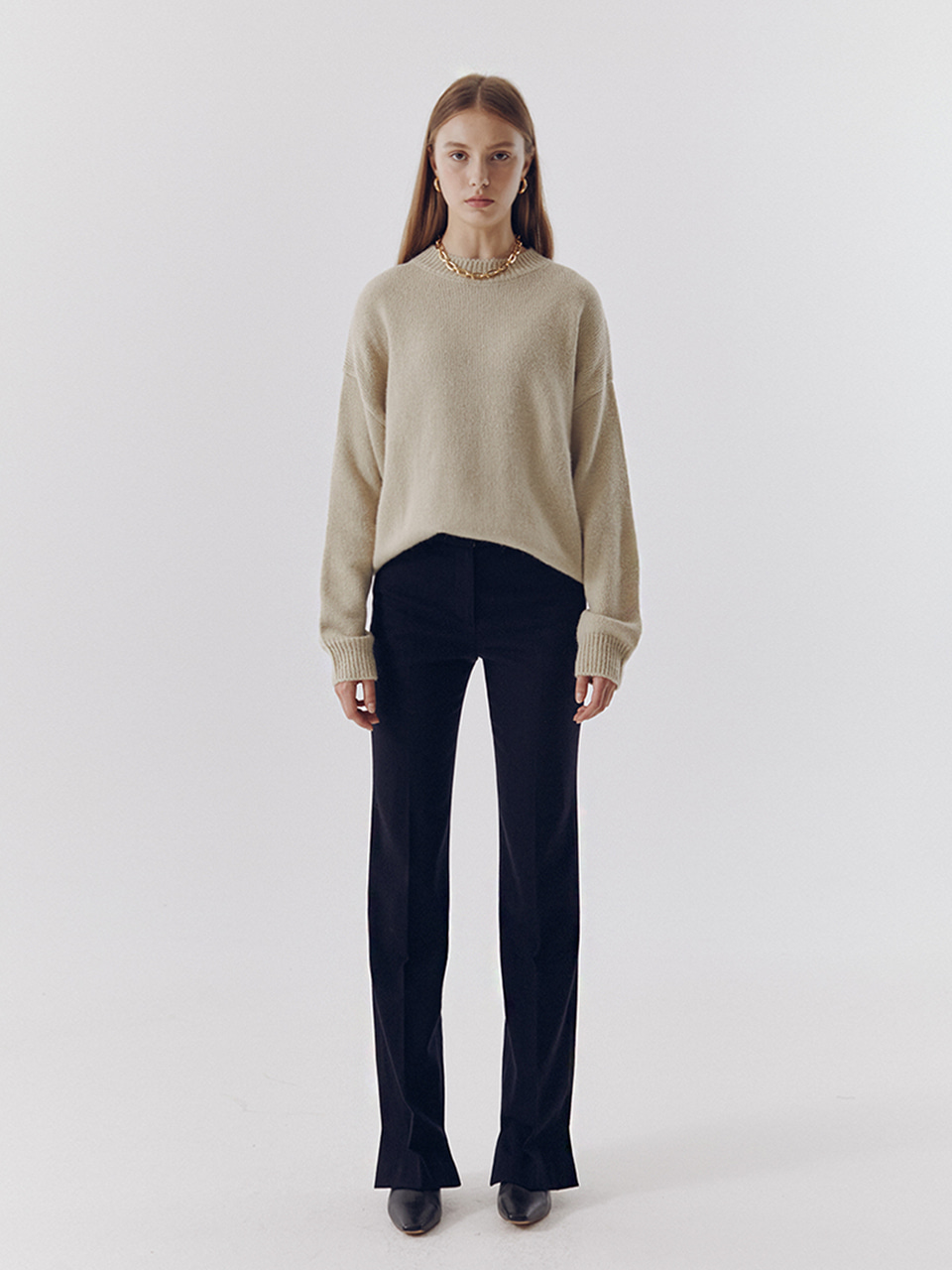 CASHMERE ASYMMETRY SLIM BOOT-CUT TROUSERS NAVY
