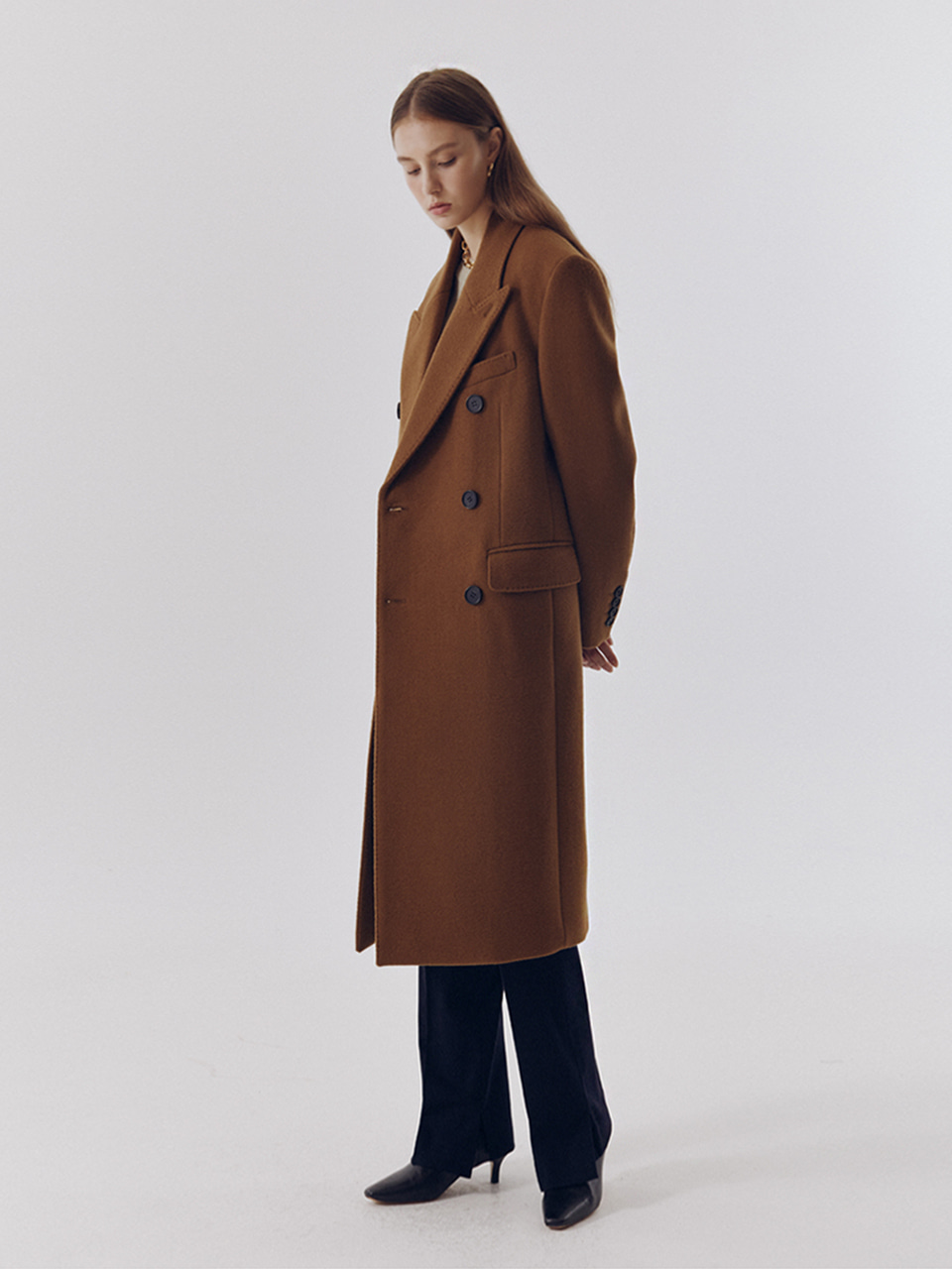 UNISEX NEW TAILORED DOUBLE-BREASTED CASHMERE COAT OLIVE CAMEL