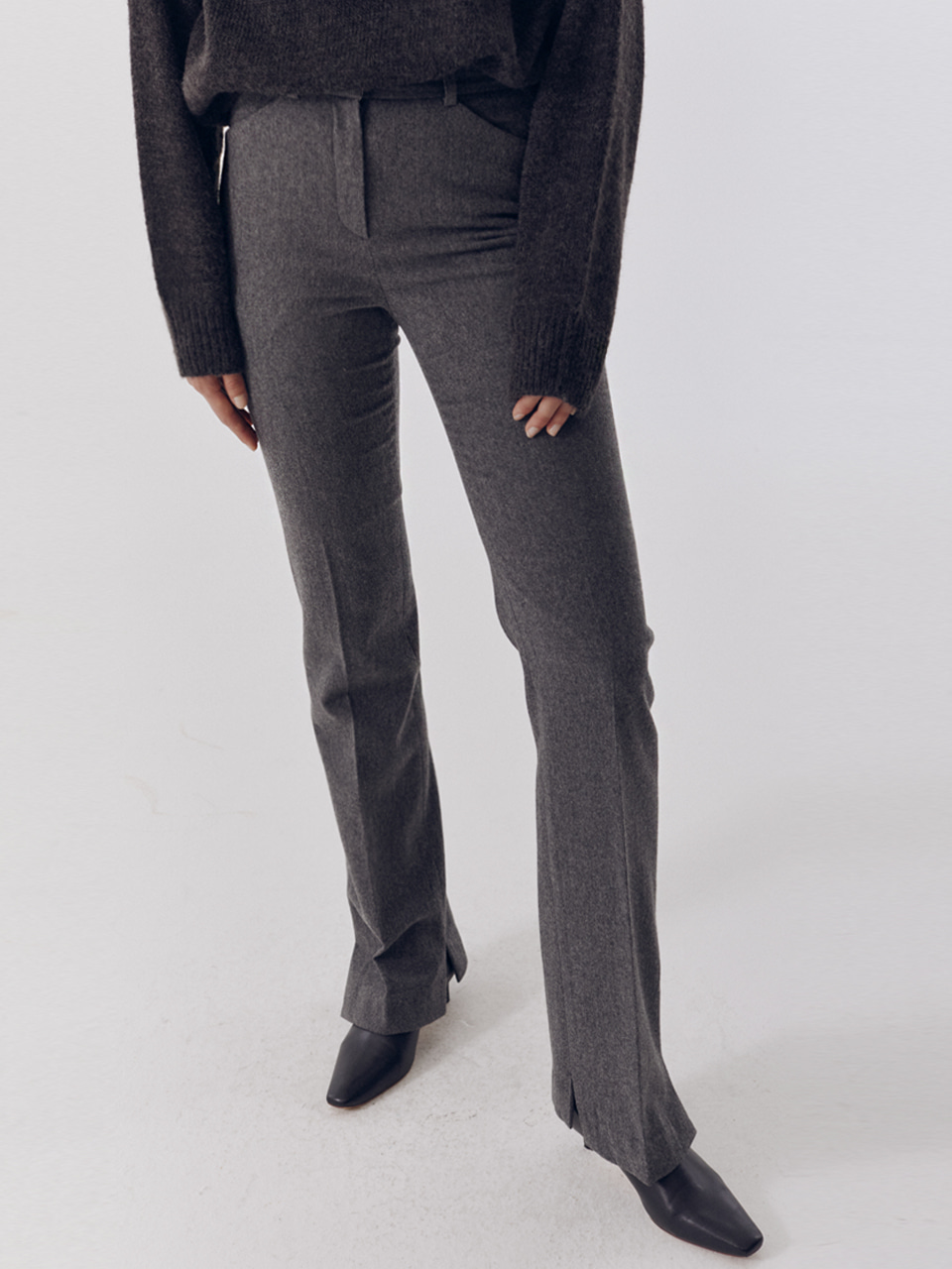 CASHMERE ASYMMETRY SLIM BOOT-CUT TROUSERS MELANGE GREY